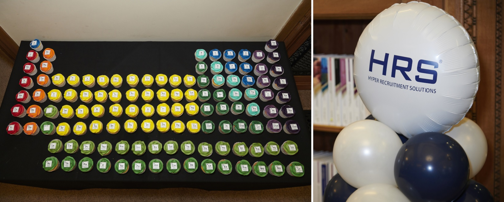 Periodic table cupcakes and HRS balloon
